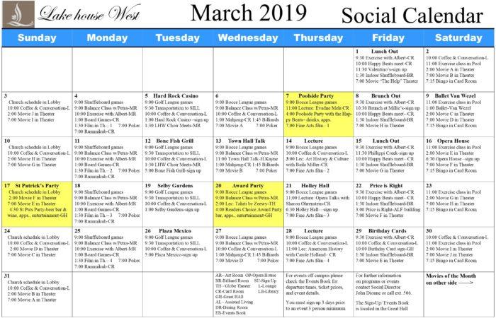 March calendar 2019